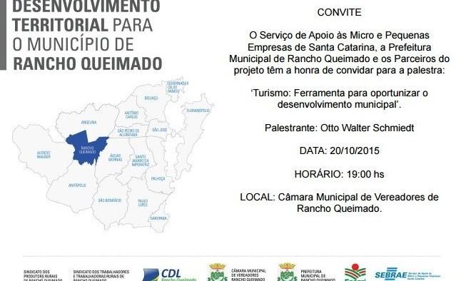 Palestra do SEBRAE – TURISMO: Ferramenta para oportunizar o desenvolvimento municipal.
