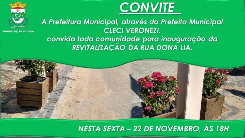 Convite para Inauguração da Revitalização da Rua Dona Lia