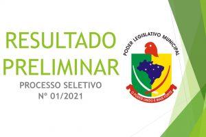 RESULTADO PRELIMINAR  – PROCESSO SELETIVO Nº 01-2021
